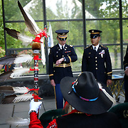 Nisqually Tribal member Robert Sison, holding  eagle feather staff, waits with members of the Army National Guard from Camp Murray and fellow Inter-Tribal Honor Guard member Warren Gohl for a military funeral on Thursday May 17, 2007 at Tahoma National Cemetery near Kent, Wash.  The Inter-Tribal Honor Guard performs military honors for funerals and other military- and veteran-related events.  Photo by Joshua Trujillo / Seattle Post-Intelligencer