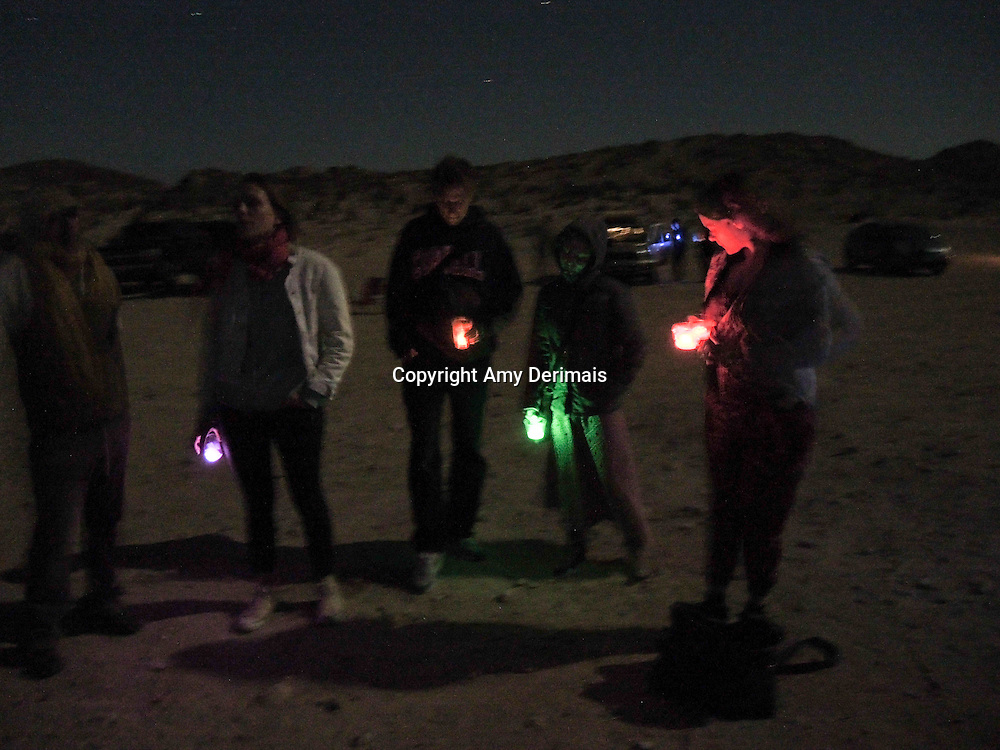 High Desert Test Sites 2013. Travelers gathering at the Glow-in-the-Dark cocktail party at Giant Rock in Landers.