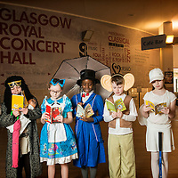 School pupils from Saint Rose of Lima take part in the Biggest Book Show on Earth at the Glasgow Royal Concert Hall. 27/02/2017.<br /> <br /> The Biggest Book Show on Earth is organised by World Book Day UK as part of the annual celebration of books and reading. This year the roadshow will visit Glasgow, Coventry, Barry, London and Dublin with an all-star line-up of over 30 authors and illustrators, giving over 6,000 children the opportunity to see their literary heroes in person. Around 2,000 local primary school children will attend the Glasgow event at the Royal Concert Hall.