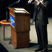 Event Emcee and University Relations Acting Vice President, Joe Poss, takes video of the audience during the singing of 'Happy Birthday Gonzaga'<br />