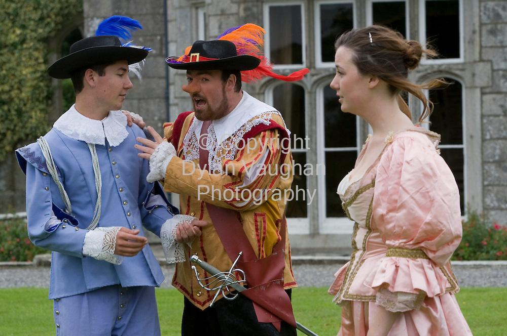13/8/2008.Members of Off The Ground Theatre pictured at Lisnavagh House in Carlow yesterday ahead of last nights performance of Cyrano De Bergerac..Cast members from left are Bill Pasterfield (Christian), Chris Tomlinson (Cyrano) and Natalie Quatermass (Roxane)..The show will be performed in Blarney Castle on Friday the 15th, Sherkin Island Saturday 16th and finish at Lismore Castle Monday the 18th..Picture Dylan Vaughan.