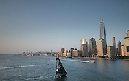New York. USA. 26th May 2016. Hudson River.Pictures of British yachtsman Alex Thomson onboard his Hugo Boss IMOCA 60 race prior to the start of the New York - Vendee solo transatlantic yacht race<br /> (Photo by Lloyd Images)
