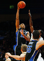 Nov 21, 2008; New York, NY, USA; Duke Blue Devils forward Gerald Henderson (15) takes a shot during the 2K Sports Classic Championship game at Madison Square Garden.