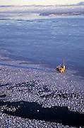 Alaska, Cook Inlet. spring, oil production platform,