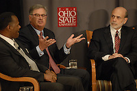 Sam Palmisano, President and CEO of IBM (center) talks at the 'Conversation on the Economy,' a forum held at Pfahl Hall in the Fisher College of Business at Ohio State on Nov. 30, 2010..