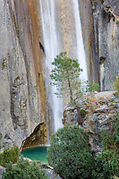 The beautiful Cola de Caballo waterfall and natural blue pool, Cazorla National Park, Jaen Province, Spain
