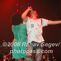 sharlene hector, felix buxton &amp; the atlantic horns Basement Jaxx performing at Webster Hall on October 11, 2006. ..Co-founder Felix Buxton with glasses and beard.<br />