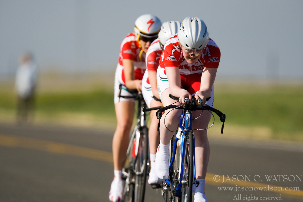 The Stanford University team of Arwen Bradley, Audrey Brown, Rae Brownsberger, Alicia Cooperman, Katy Keenan, and Sasha Richey competes in the women's division 1 race.  The 2008 USA Cycling Collegiate National Championships Team Time Trial event was held near Wellington, CO on May 9, 2008.  Teams of 3 or 4 riders raced over a 20km out and back course that ran along a service road to Interstate 25.