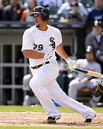 CHICAGO - APRIL 04:  Jose Abreu #79 of the Chicago White Sox bats against the Detroit Tigers on April 04, 2017 at Guaranteed Rate Field in Chicago, Illinois.  The Tigers defeated the White Sox 6-3.  (Photo by Ron Vesely)   Subject:  Jose Abreu