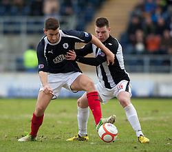 Falkirk's Kieran Duffie and Dunfermline's Alex Whittle..Falkirk 1 v 0 Dunfermline, 16/2/2013..©Michael Schofield.