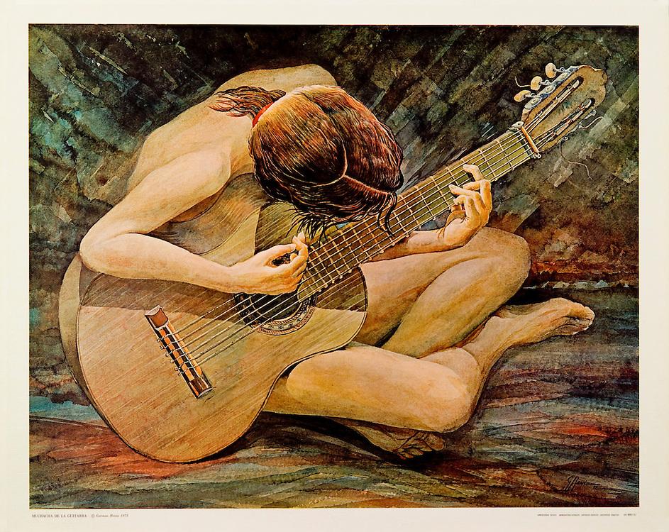 Cat. #28 - Print of a watercolor painting of a girl sitting on the floor playing a guitar. Printed in Italy on heavy weight, canvas textured stock.<br /> Paper size is 21 3/4 x 17 5/8&quot;. Image size is approximately 20 x 16&quot; <br /> Cat. #28 - Impresi&oacute;n de una pintura en acuarela de una muchacha sentada en el suelo tocando una guitarra. Impreso en Italia en papel con textura de tela y grueso.<br /> Tama&ntilde;o del papel es 21 3/4 x 17 5/8&quot;. Tama&ntilde;o de la imagen es aproximadamente 20 x 16&quot;