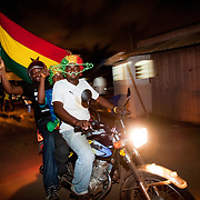 Jubilant football fans in Accra, Ghana celebrate Ghana's progression to the next round of the FIFA World Cup in spite of their 1 - 0 loss to Germany. 23 June 2010.
