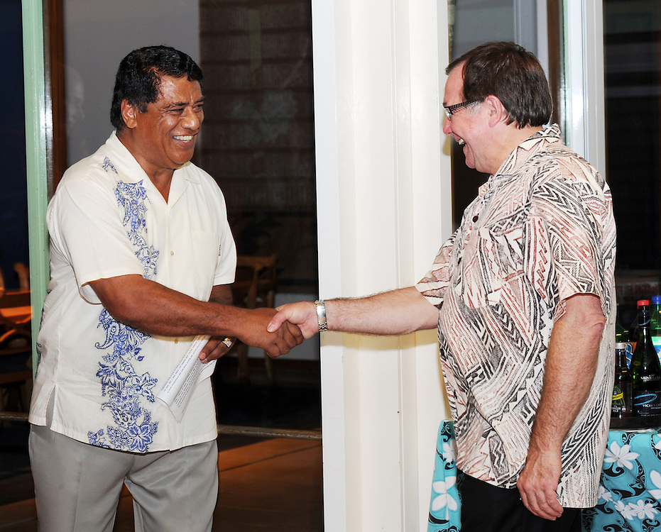 Tongan Prime Minister Siale 'Ataongo Kaho, Lord Tu'ivakano, left, with Minister of Foreign Affairs Murray McCully at the reception at the New Zealand High Commission Residence, Pacific Mission 2012, Nuku'alofa, Tonga, Monday, July 23, 2012. Credit:SNPA / Ross Setford