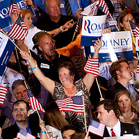 TAMPA, FL -- Supporters cheer for Republican presidential candidate former Gov. Mitt Romney during his Election Night party after it was called on decision day during his victory in the Florida Primary on Tuesday, January 31, 2012. (Chip Litherland for The New York Times)