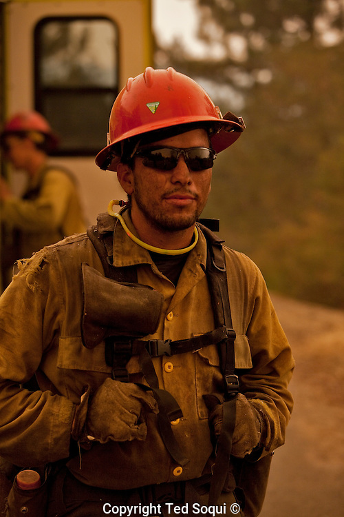 "US Forest Service ""Hot Shot"" in the mountains of the Angeles Forest..Station Fire.."