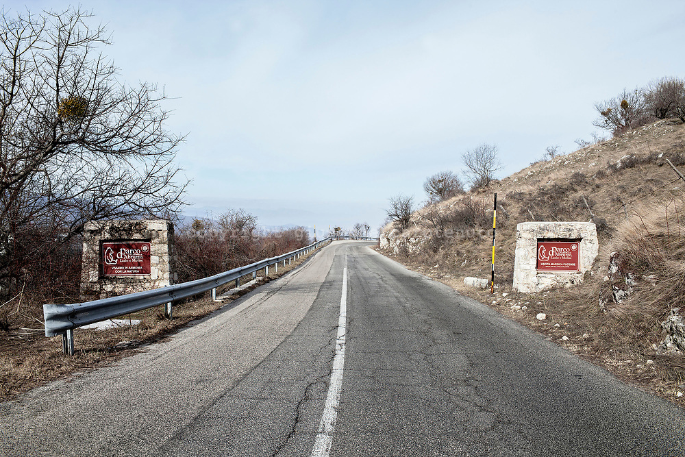 17 February 2017, AQ Italy - Advertising sign of the National Park of Abruzzo on the roadside.