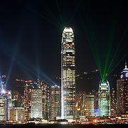 CHINA (Hong Kong). 2009. Hong Kong´s light show from Tsim Sha Tsui promenade.