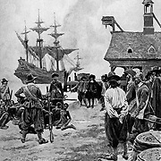 """""""Landing of Negroes at Jamestown Virginia from a Dutch Man-of-War, 1619"""".Source: Colonies and Nation by Woodrow Wilson Harper's Jan 1901.  Slavery. The first black slaves delivered to English North America. (note: half-tone dots in this image)"""