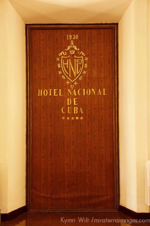 Central America, Cuba, Havana. Door of Hotel Nacional de Cuba.