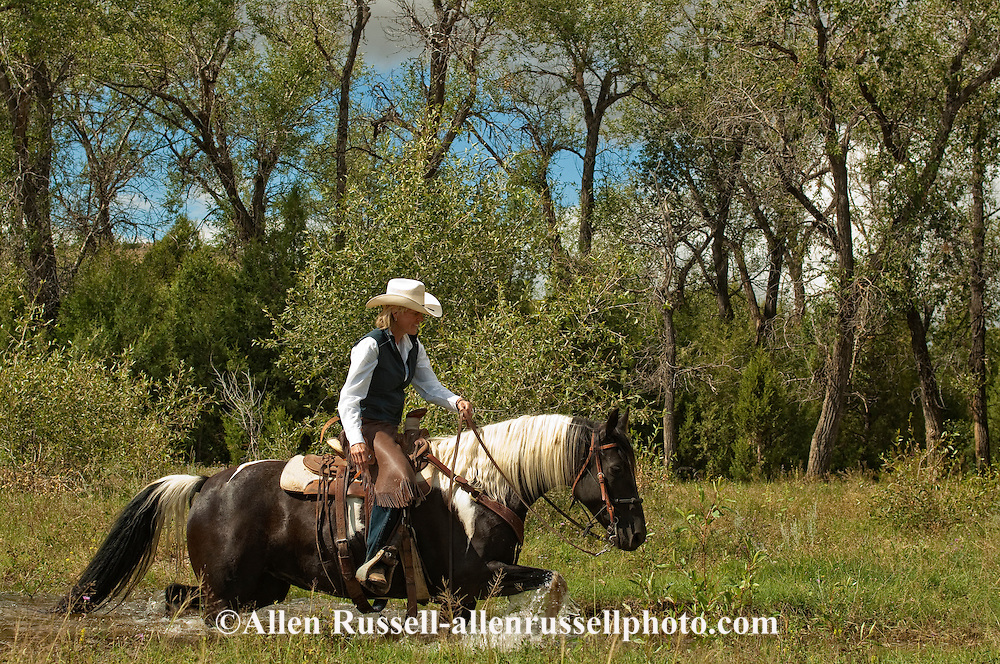 Janet Smith, trail Rider crosses creek, Paint Horse, Montana, MODEL RELEASED, PROPERTY RELEASED