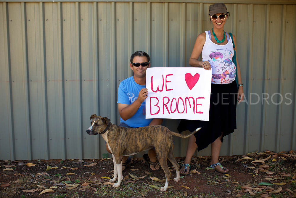 The Kerr family supporting the Broome Family gathering in the centre of Broome, showing that Broome families do not want a gas hub North of Broome. WA