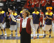 "Katie Dintelman sings the national anthem at Mississippi vs. LSU at the C.M. ""Tad"" Smith Coliseum on Thursday, March 4, 2010 in Oxford, Miss. Ole Miss won 72-59."