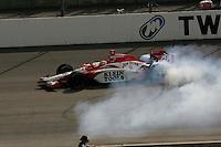 Dan Wheldon celebrates the win at the Twin Ring Motegi, Japan Indy 300, April 30, 2005