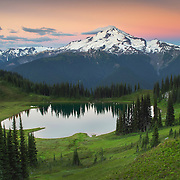 Image Lake and Glacier Peak seen from Miner's Ridge, Glacier Peak Wilderness North Cascades Washington.<br /> <br /> Glacier Peak (10,541&prime;) or Dakobed is the most isolated of the five major stratovolcanoes of the Cascade Volcanic Arc.