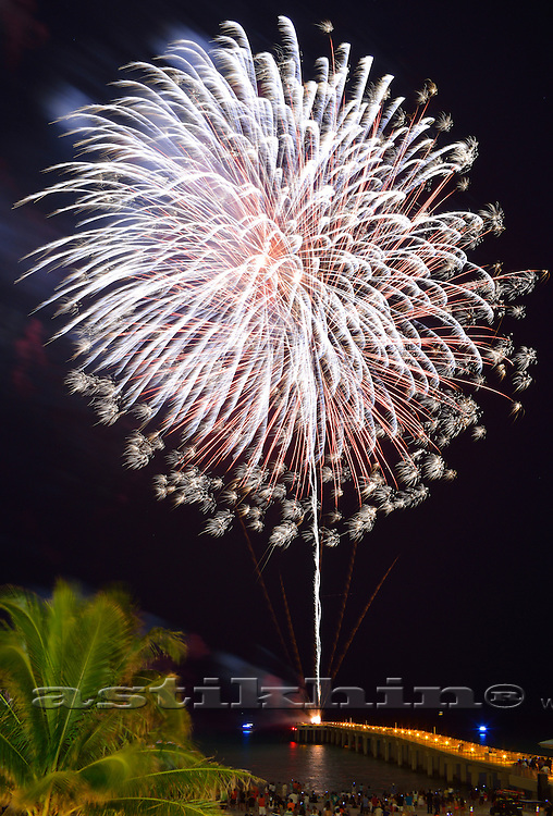 BANG as fireworks. Newport Fishing Pier Grand Opening.