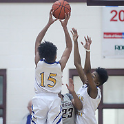 Hodgson Vo-Tech Guard Kayla Braxton-Young (3) tries to steal the ball from Caesar Rodney Center Malaka Gillette (12) during a Diamond State Classic game Wed. Dec. 28, 2016 at Saint Elizabeth's High School in Wilmington.