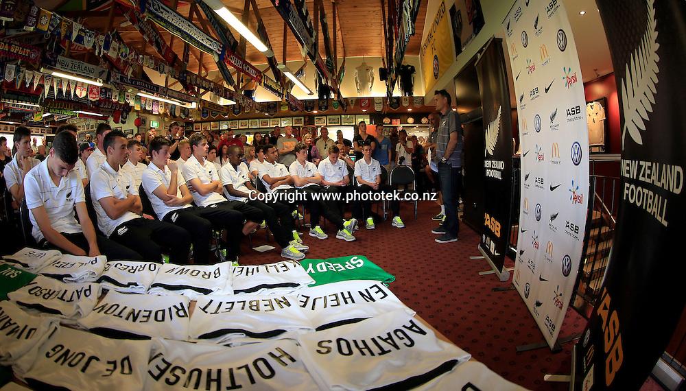 U17 shirt presentation. Friendy Football Fixture, Auckland City FC v Young All Whites, Kiwitea Street Auckland, Sunday 6th October 2013. Photo: Shane Wenzlick