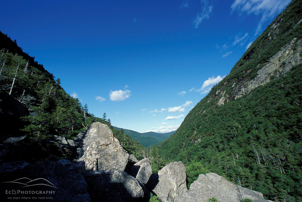 The view through the notch.  Possibly the hardest mile of the Appalachian Trail.  Mahoosuc Range, White Mountains.  Northern Forest.  Mahoosuc Notch, ME