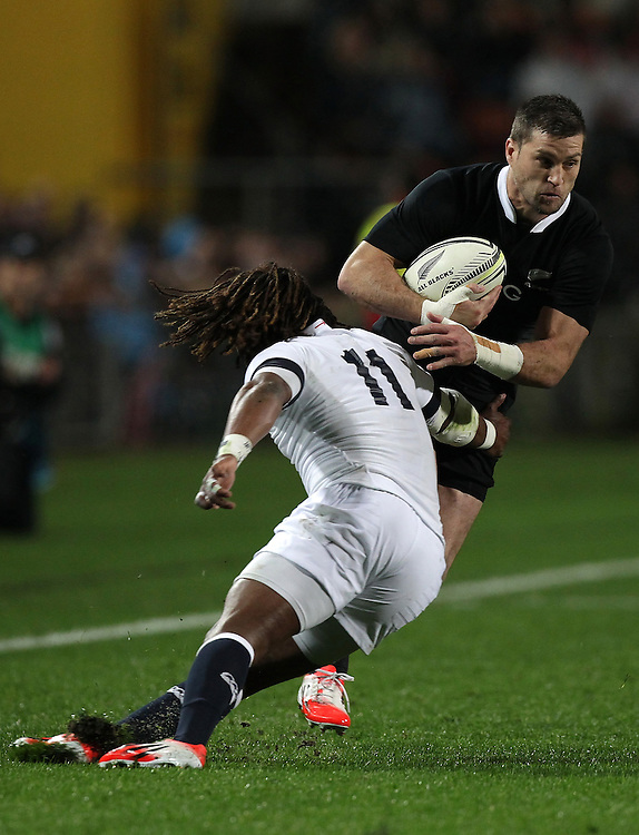 New Zealand's Cory Jane is tackled by England's Marland Yarde in an International Rugby Test match, Waikato Stadium, Hamilton, New Zealand, Saturday, June 21, 2014.  Credit:SNPA / David Rowland