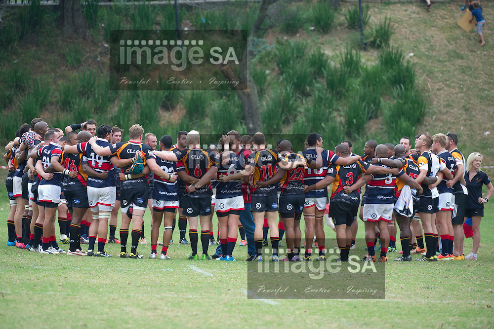 JOHANNESBURG, SOUTH AFRICA - Saturday 14 March 2015, Both teams huddle after the game that Wanderers won during the fourth round match of the Cell C Community Cup between Vaseline Wanderers and One Logix United Bulk Villagers Worcester at Kent Park, Wanderers Cricket Club, Johannesburg<br /> Photo by Craig Nieuwenhuizen/ ImageSA/SARU