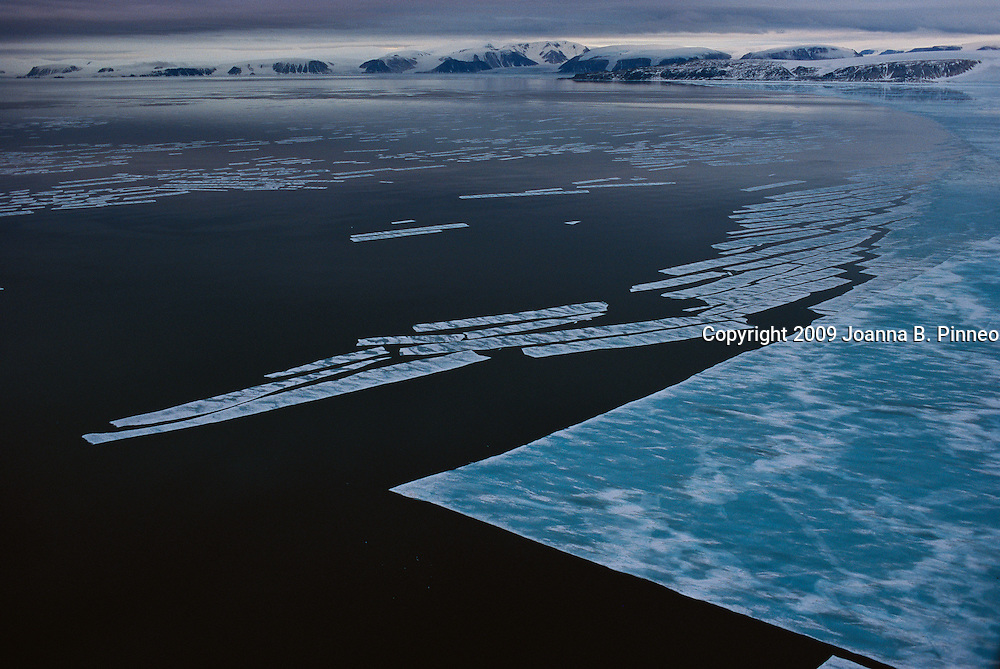 Ice breaks up near Resolute Bay in northern Canada.