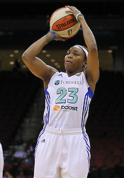 June 3, 2012; Newark, NJ, USA; New York Liberty guard Cappie Pondexter (23) shoots the ball during the first half of their game against the Indiana Fever at the Prudential Center. Mandatory Credit: Ed Mulholland-US PRESSWIRE