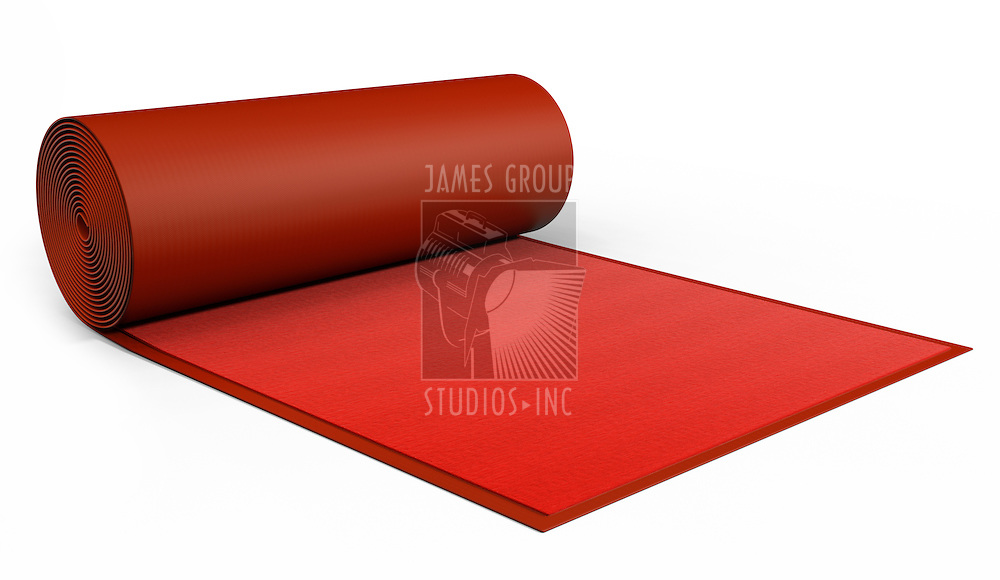 A red Carpet being rolled out on white. Includes Clipping Path!!