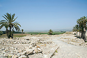 Israel, Jezreel Valley, Tel Megiddo National park. General view Megiddo is a tel (hill) made of 26 layers of the ruins of ancient cities in a strategic location at the head of a pass through the Carmel Ridge, which overlooks the Valley of Jezreel from the west.