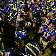 Delaware Cornerback Jake Campbell #47 sing the school fight song along with his teammates after Delaware defeats West Chester 41-21...Delaware will return home Sept. 8, 2012 at 3:30pm for a showdown with interstate Rival Delaware State in the Route 1 Rivalry Bowl at Delaware Stadium.