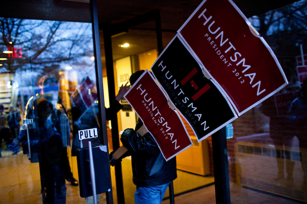 A group of high school students from Mamaroneck High School in Mamaroneck, New York, returns to campaign headquarters after marching down Elm Street in support of Republican presidential candidate Jon Huntsman on Sunday, January 8, 2012 in Manchester, NH. The students were on a field trip as part of an AP Government class. Brendan Hoffman for the New York Times