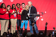 Vice President Joseph R. Biden, right, kisses his wife Dr. Jill Biden on stage at the Unite America in Service event, part of the National Day of Service, at the DC Armory on Saturday, January 19, 2013 in Washington, DC.