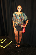 September 6, 2012- New York, New York: Reality Personality/Entrepreneur Angela Simmons backstage at the 2012 Mercedes-Benz Fashion Week for The ARISE Magazine Icons Fashion Showcase featuring the designs of Ozwald Boateng, Tiffany Amber, Tsemaye Binitie, Maki Oh and Gavin Rajah held at Lincoln Center on September 6, 2012 in New York City. ARISE is Africa's first and foremost international style magazine. Highlighting African achievement in fashion, music, culture and politics, it provides a positive portrayal of the continent and its contribution to contemporary society across the world.  (Terrence Jennings)