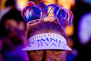 A Catholic Romney/Ryan supporter at a campaign rally in Daytona Beach, Florida, October 19, 2012.