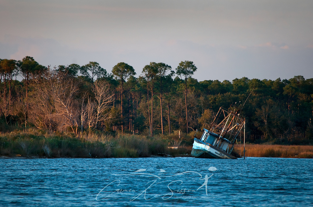 A partially-submerged shrimp boat sinks into the water near the old state docks in Bayou La Batre, Ala. Dec. 04, 2010. The Gulf Coast continues to recover from this summer's Deepwater Horizon BP oil spill, which affected nearly 29,000 square miles of shoreline from Louisiana to Florida. The area was heavily devastated by Hurricane Katrina in 2005.(Photo by Carmen K. Sisson/Cloudybright)