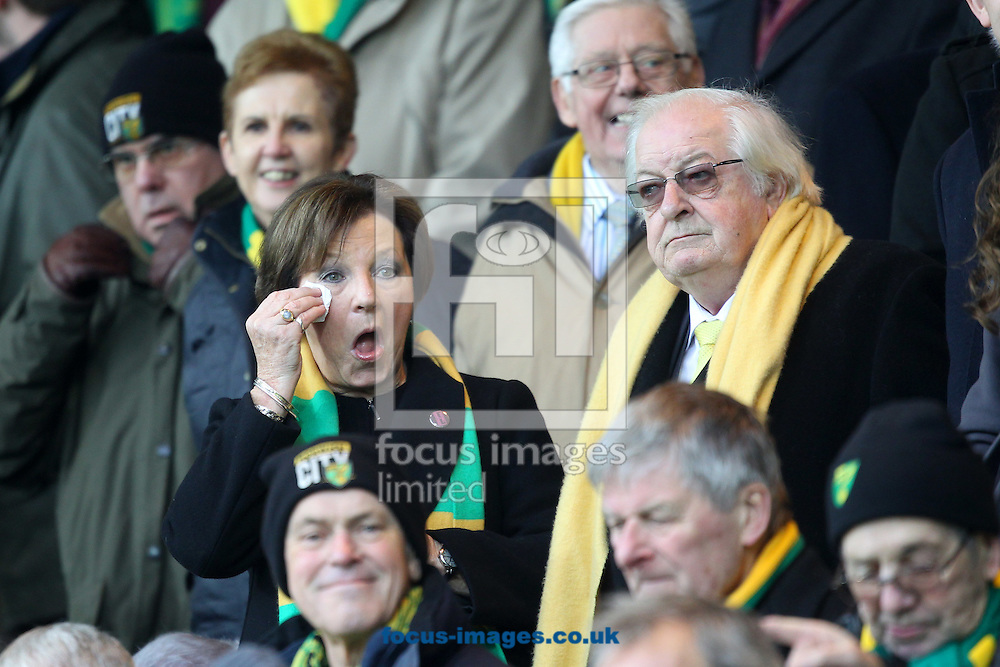 Opera singer Hayley Moss' performance seems to bring a tear to the eye of Norwich City's Joint Majority Shareholder Delia Smith before the Barclays Premier League match at Carrow Road, Norwich<br /> Picture by Paul Chesterton/Focus Images Ltd +44 7904 640267<br /> 13/02/2016