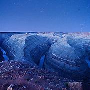 "The night sky at dawn above the ""Goosenecks of the San Juan River""  in Southern Utah."