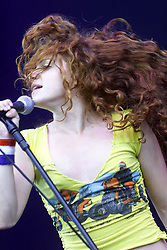Nikka Costa opens the second day at T in the Park, Balado, Fife, 8/7/2001..©2010 Michael Schofield. All Rights Reserved.