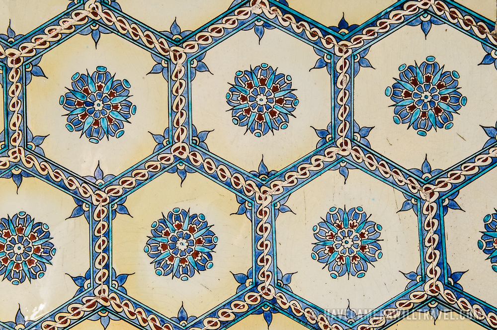 Ornately decorated ceramic tiles in the Harem of the Topkapi Palace, the Ottoman palace in Istanbul's Sultanahmet district.
