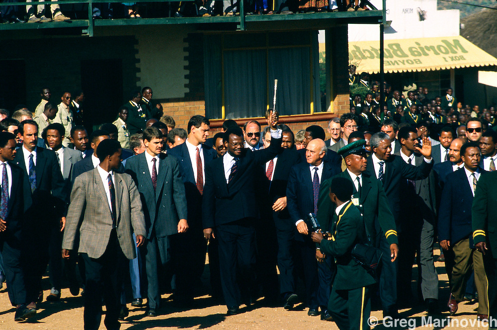 F.W. de Klerk with Chief Butheleziat the  Zion Christian Church  Easter Celebration, 1994. South Africa