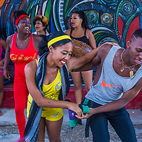 HAVANA, CUBA - JULY 18 : Rumba dancers in Havana Cuba on July 18 2016. Rumba is a secular genre of Cuban music involving dance, percussion, and song. It originated in the northern regions of Cuba
